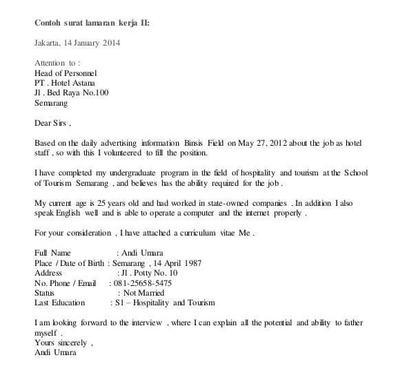 6. Contoh Surat Lamaran Guru Bahasa Inggris