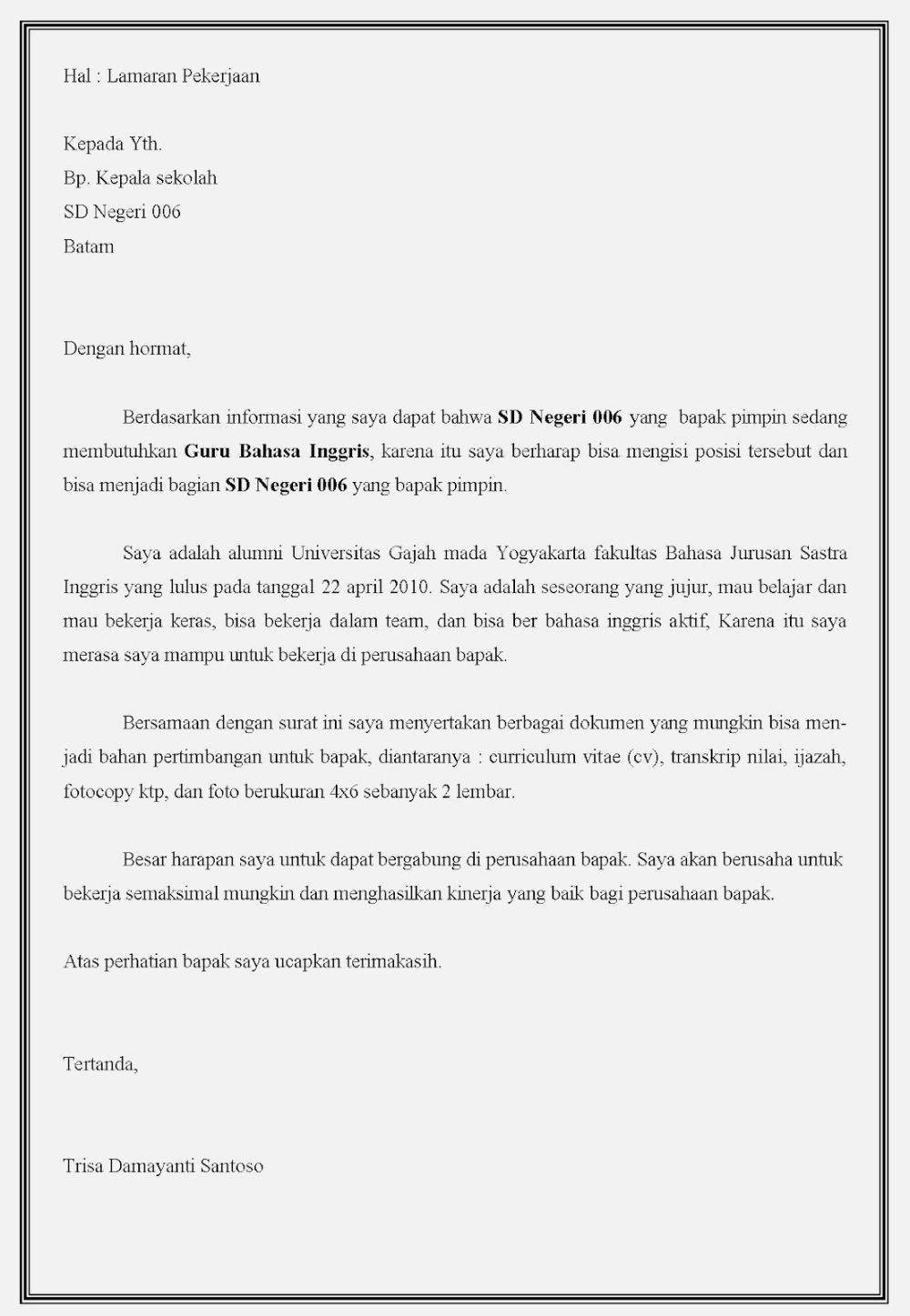 16 Contoh Surat Lamaran Kerja Guru Sd Smp Sma Dll Contoh Surat