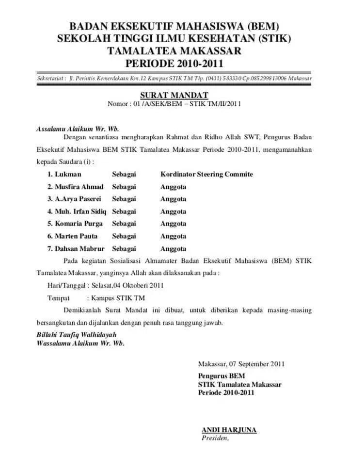 Surat Mandat Pelaksana Tugas
