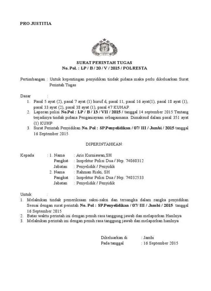 Surat Perintah Tugas Kepolisian