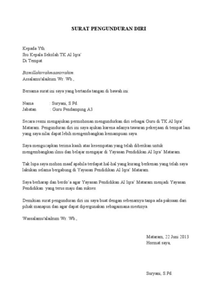 16 Contoh Surat Pengunduran Diri Guru Dan Formatnya Contoh Surat