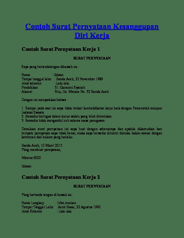1. Contoh Surat Pernyataan Kesanggupan Kerja