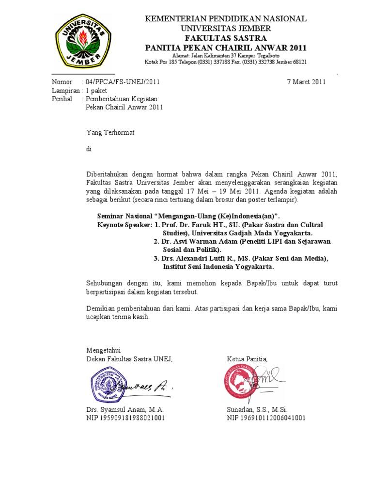 11. Contoh Surat Pemberitahuan Kegiatan Seminar Kampus