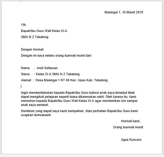 2. Contoh Surat Keterangan Sakit Untuk Sekolah