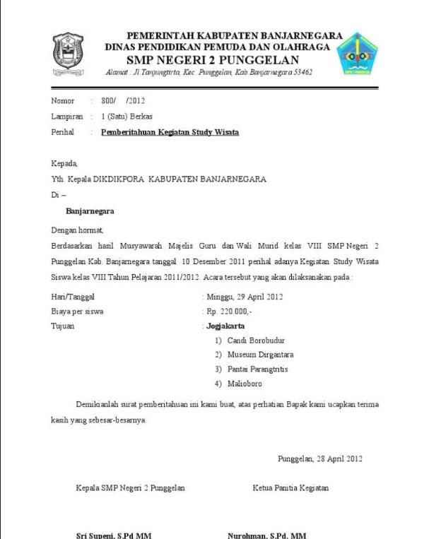 5. Contoh Surat Pemberitahuan Kegiatan Sekolah Tentang Study Tour