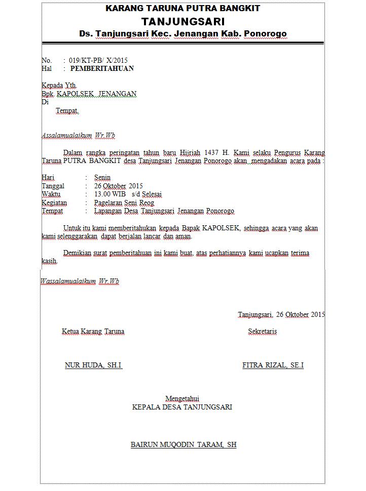 6. Contoh Surat Pemberitahuan Kegiatan Ke Kepolisian