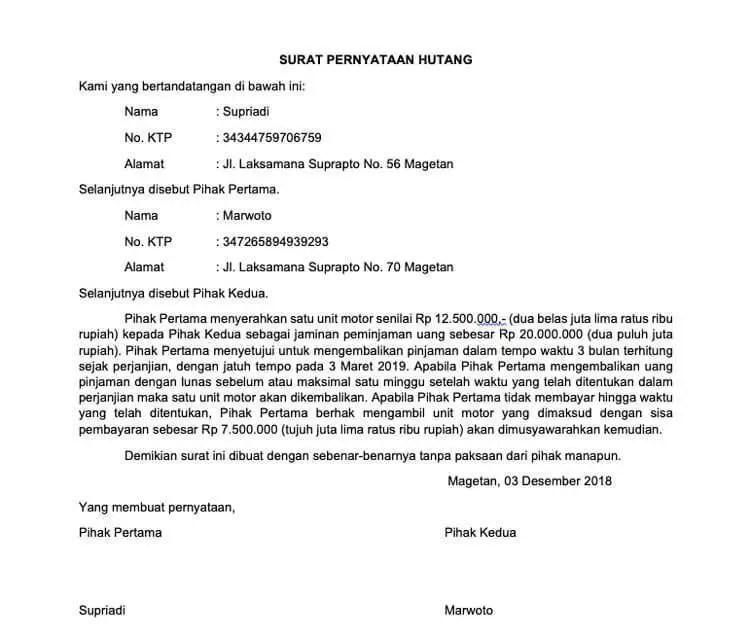 7. Surat Pernyataan Hutang Piutang Yang Bisa Dipidanakan