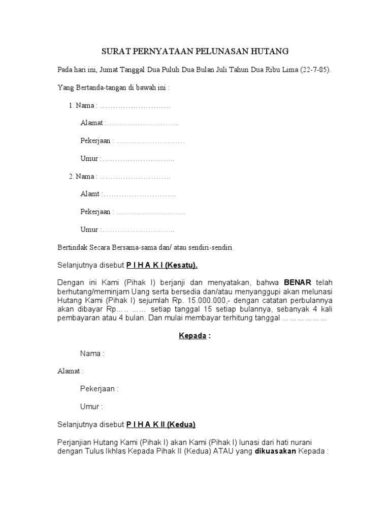 8. Contoh Surat Pernyataan Membayar Hutang Secara Lunas