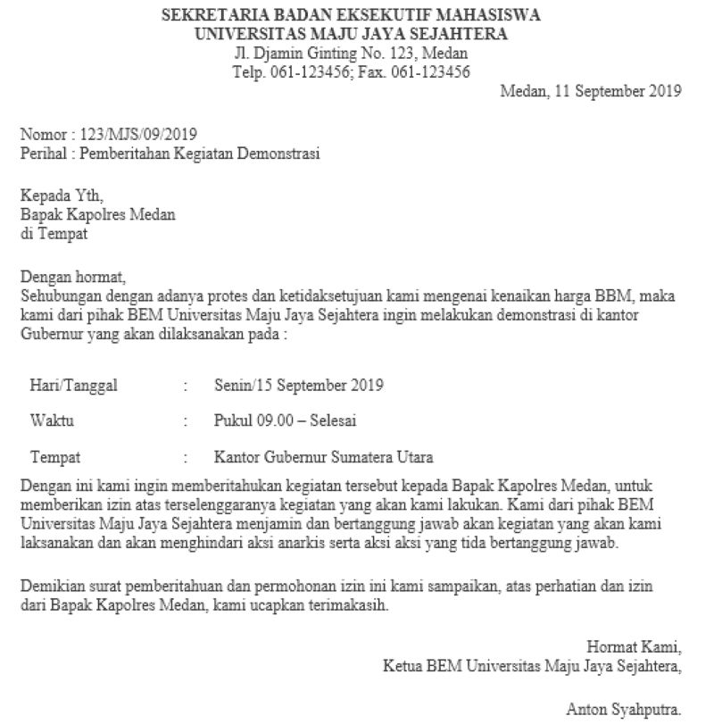 9. Contoh Surat Pemberitahuan Kegiatan Demonstrasi Ke Kepolisian