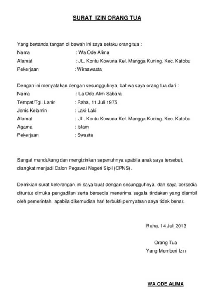 Contoh Surat Izin Orang Tua Untuk Anak Yang Bepergian Sendiri Id Lif Co Id
