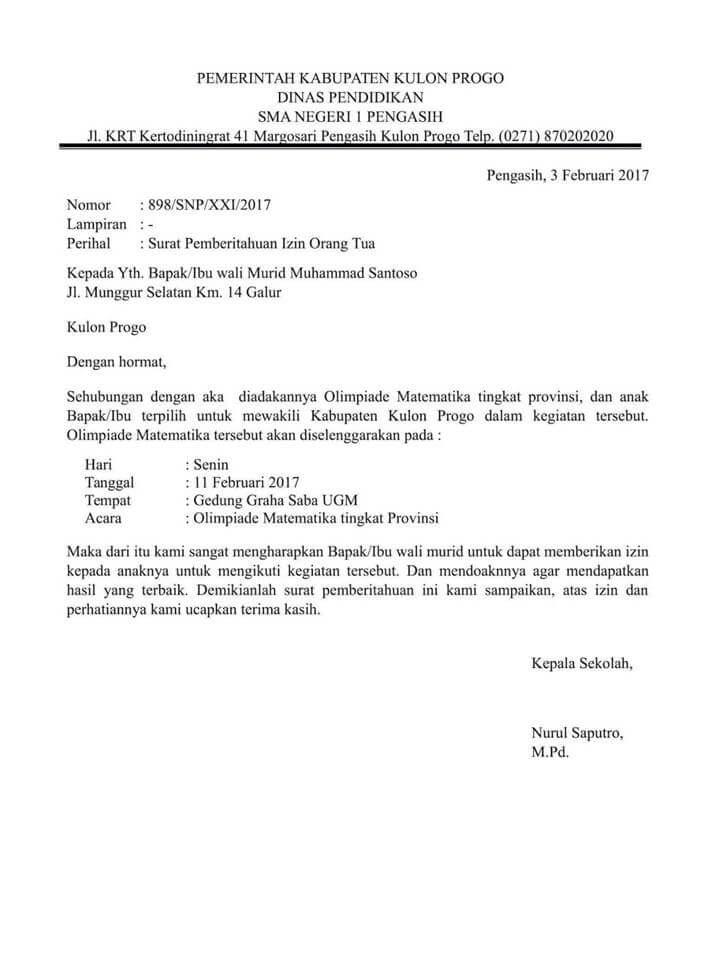Surat Izin Sekolah Untuk Kegiatan