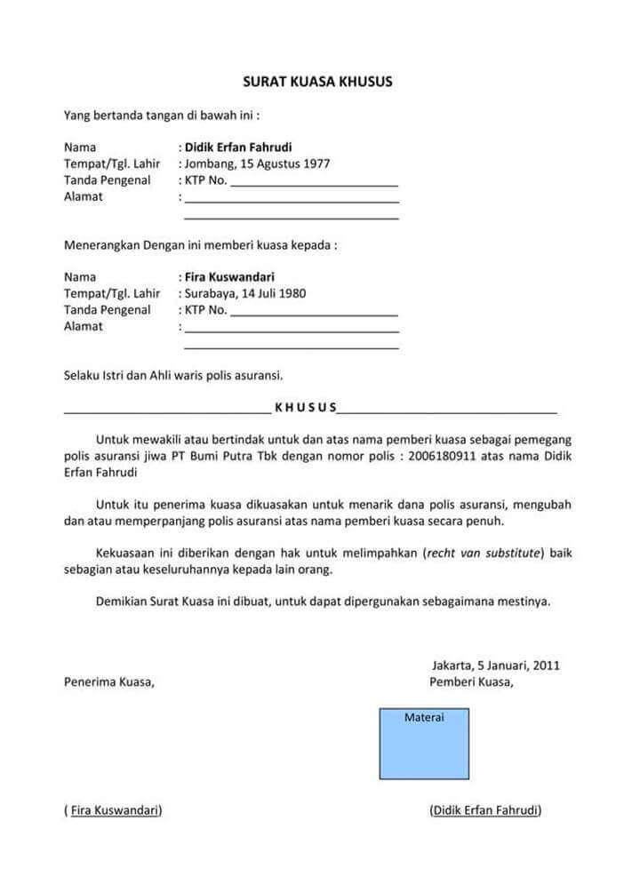 Surat Kuasa Pengambilan Uang Asuransi