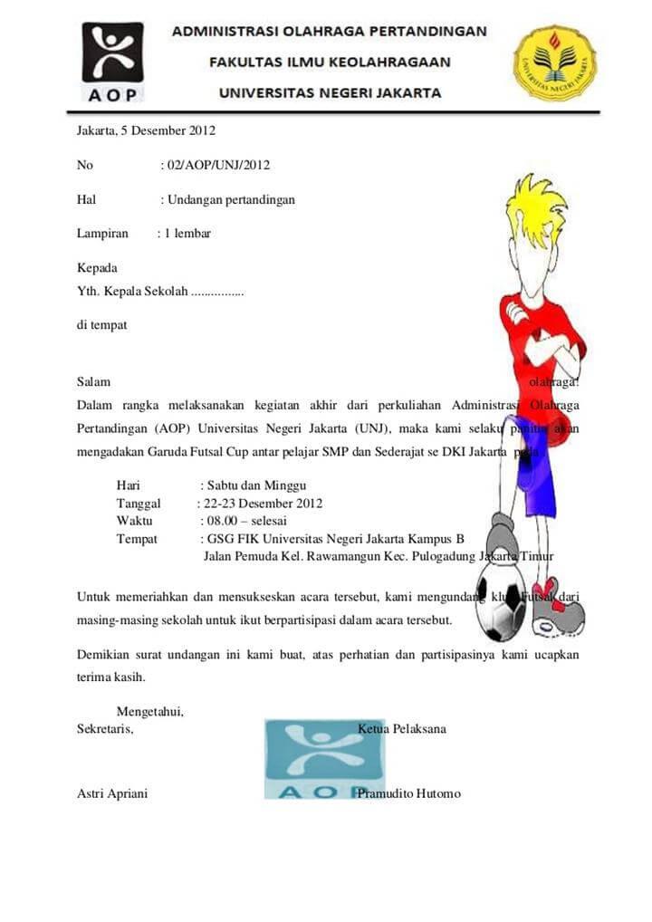 Surat Pemberitahuan Kegiatan Futsal