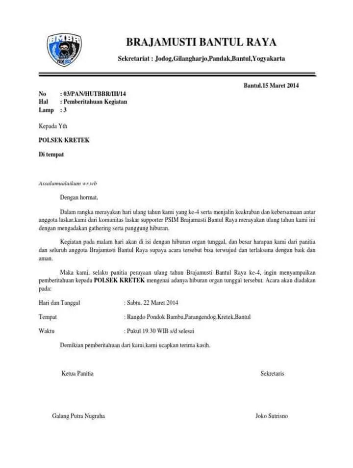Surat Pemberitahuan Kegiatan Ke Kepolisian
