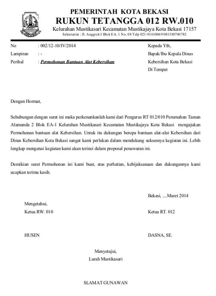 Surat Permohonan Bantuan Alat Kebersihan