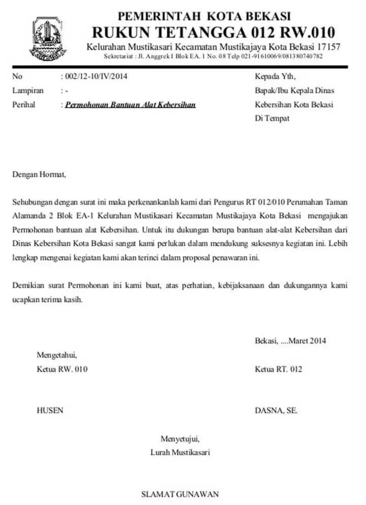 Surat Permohonan Bantuan Barang
