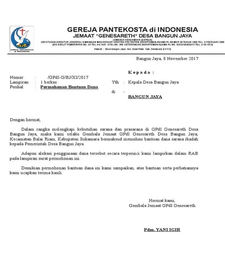 Surat Permohonan Bantuan Dana Pembangunan Gereja