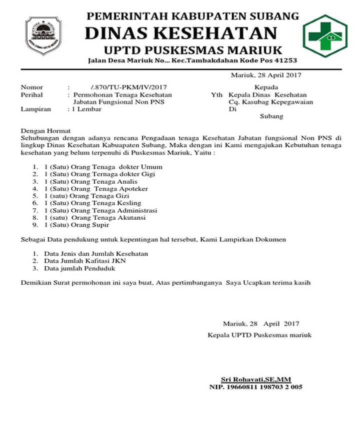 Surat Permohonan Dinas