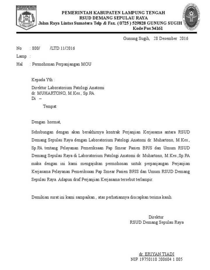 Surat Permohonan Kerjasama MOU
