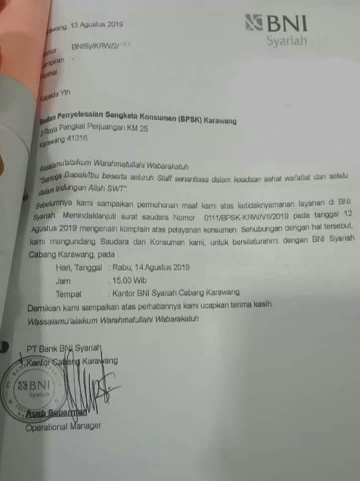 Surat Permohonan Maaf Bank Kepada Nasabah