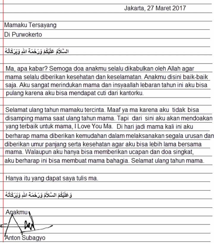 Surat Permohonan Maaf Kepada Orang Tua