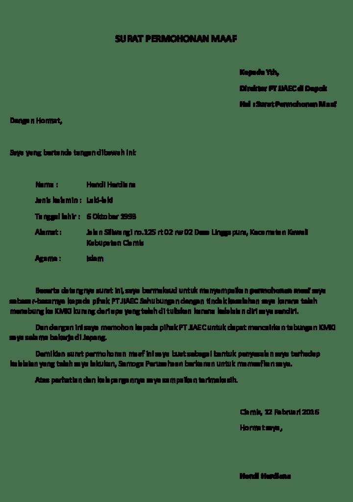 Surat Permohonan Maaf Kepada Pimpinan