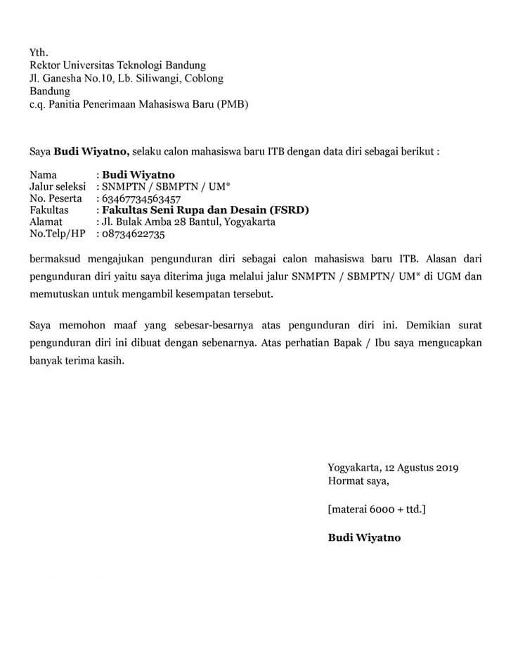 Surat Permohonan Maaf Kepada Rektor