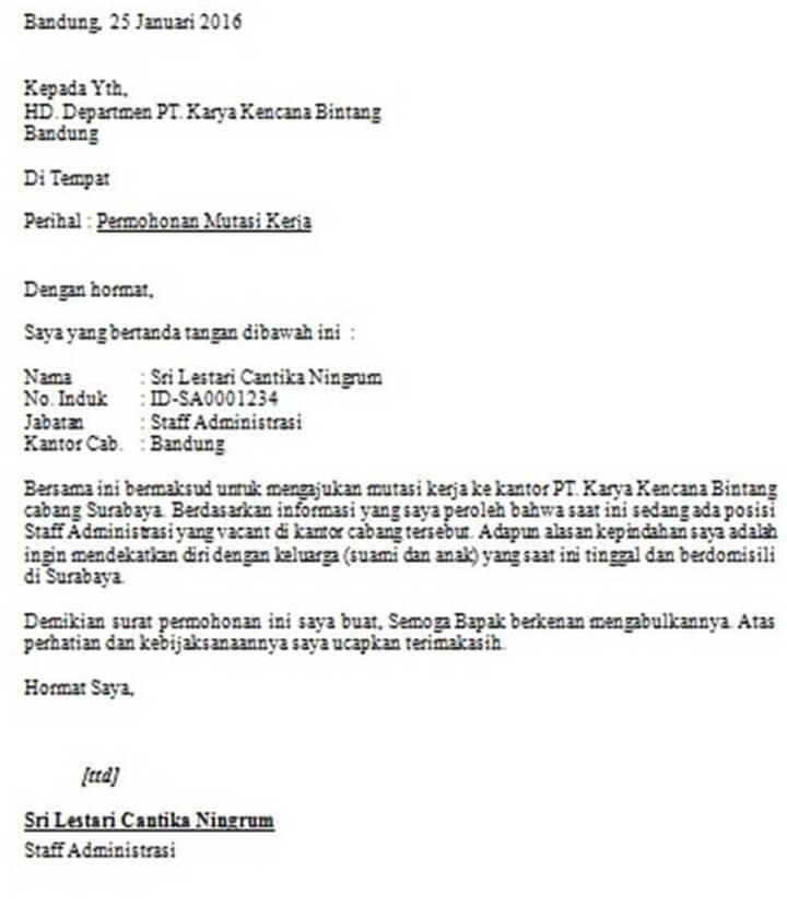 Surat Permohonan Mutasi Kerja Swasta