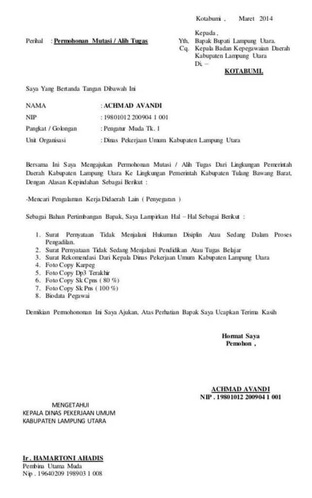 Surat Permohonan Pindah Tugas Antar Kabupaten