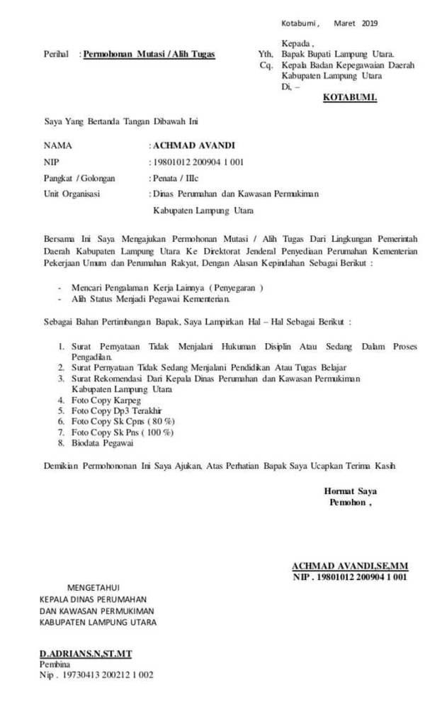 Surat Permohonan Pindah Tugas Antar SKPD