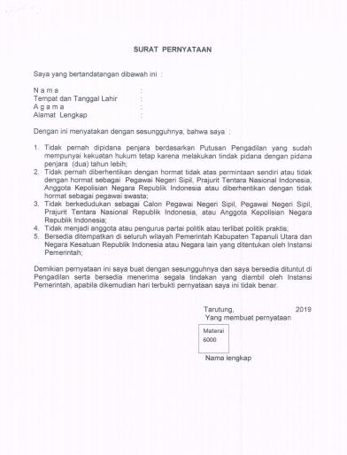 Contoh Surat Pernyataan CPNS 1