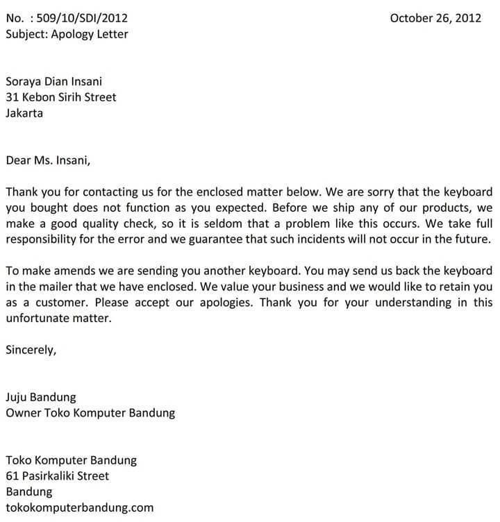 10. Contoh Surat Permohonan Maaf Dalam Bahasa Inggris