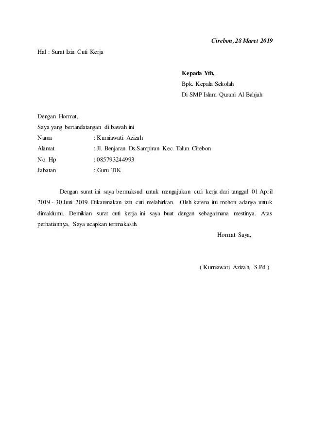 12. Contoh Surat Cuti Karyawan