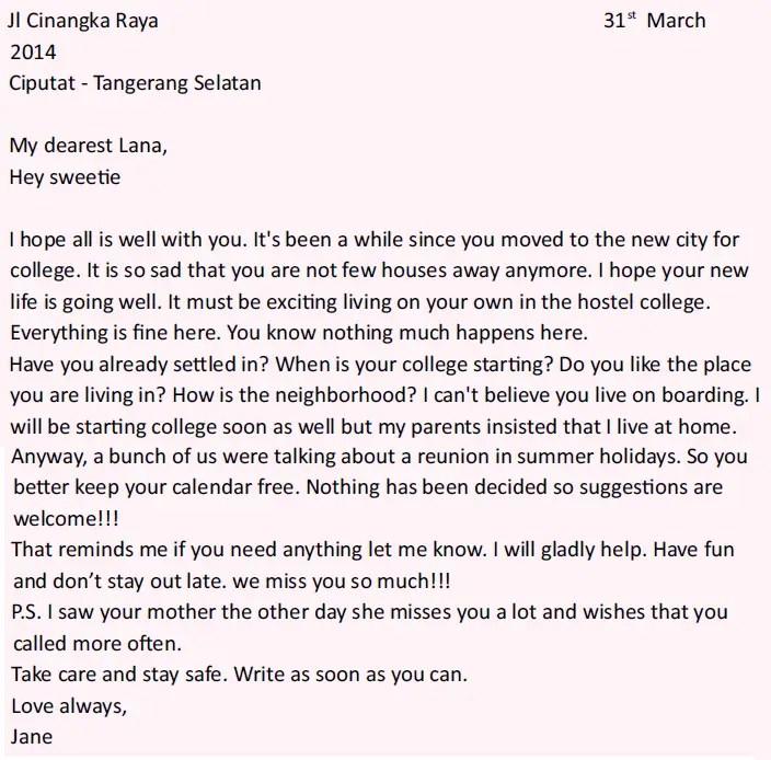 14. Contoh Surat Pribadi Untuk Sahabat Bahasa Inggris