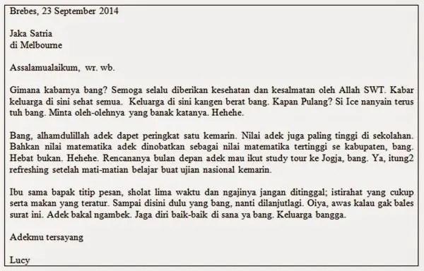 2. Contoh Surat Pribadi Pendek Untuk Sahabat
