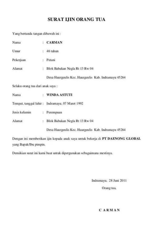 3. Contoh Surat Izin Orang Tua Untuk Kerja Shift Malam
