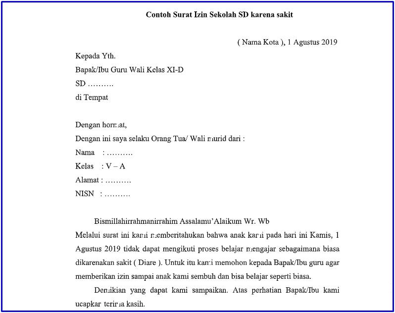 5. Contoh Surat Izin Sakit Sekolah SD