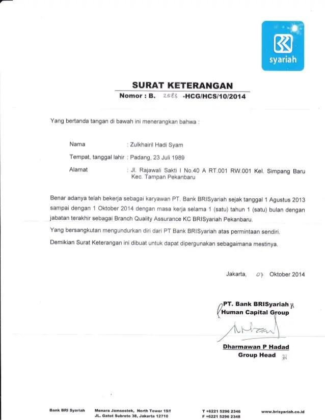 5. Contoh Surat Keterangan Kerja Untuk Bank