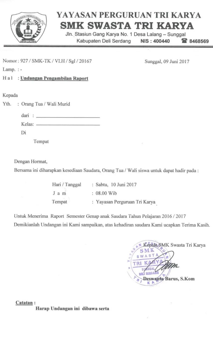 5. Contoh Surat Undangan Pengambilan Raport Sekolah