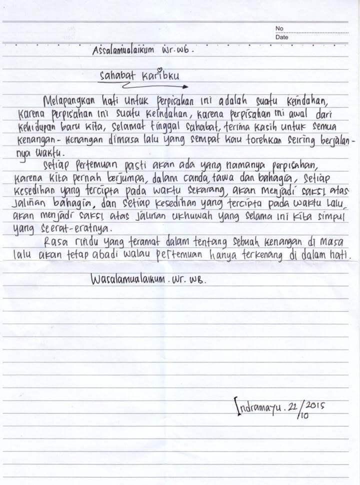 6. Contoh Surat Sahabat Pena Singkat