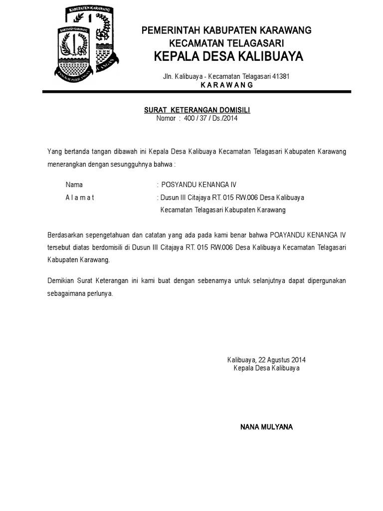 14. Contoh Surat Keterangan Domisili Lembaga Yayasan