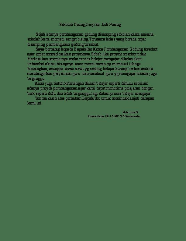 14. Contoh Surat Pembaca Tentang Lingkungan Sekolah Dan Siswa