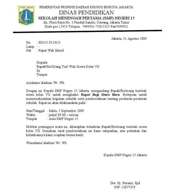 16. Contoh Format Surat Dinas Resmi