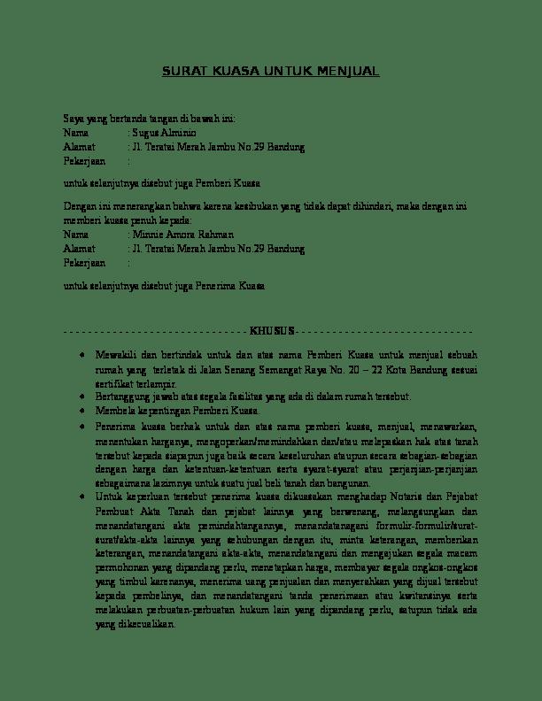 2. Contoh Surat Kuasa Penjualan Tanah