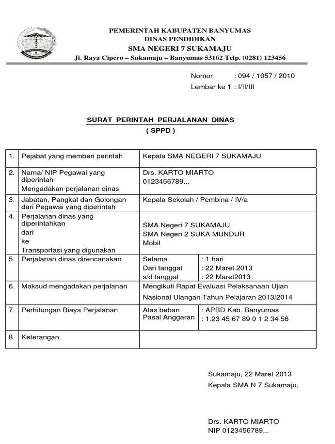 4. Contoh Surat Perjalanan Dinas (SPPD) Perusahaan