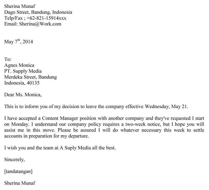 7. Contoh Surat Resign Kerja Bahasa Inggris