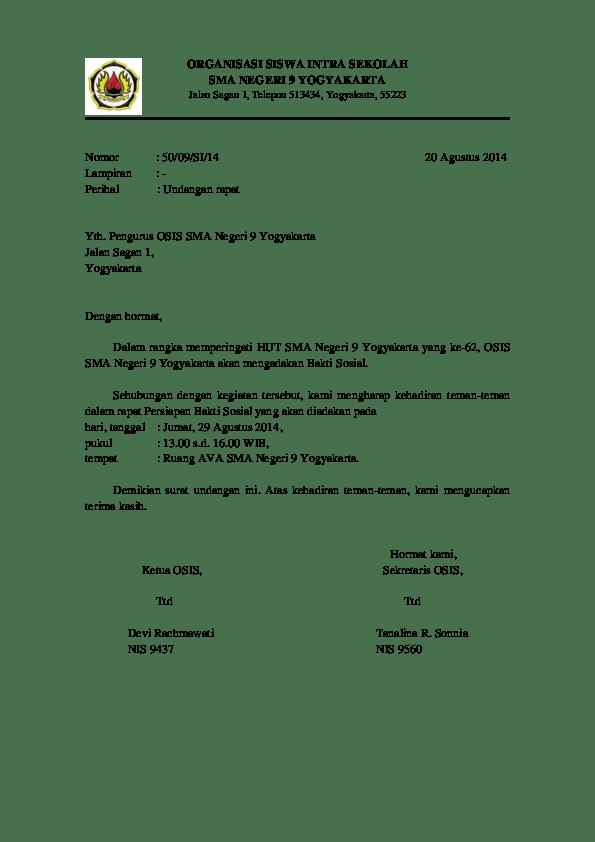 9. Contoh Surat Dinas Resmi Undangan Rapat OSIS