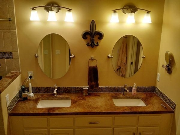 antique brown stained concrete vanity