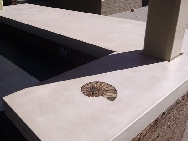 White Concrete Countertop With Sea Shell Inlay Picture Surecrete Products