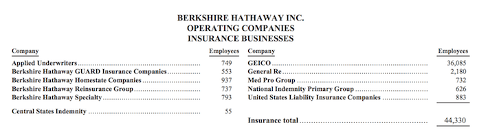 Berkshire Hathaway Inc. Operating Companies Insurance Businesses